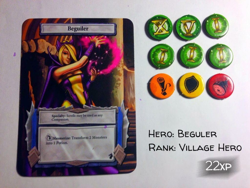 Dungeon Dice Solo Adventure – Beguiler – 22 xp points – Village Hero